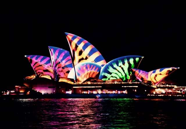 Opera house illuminata