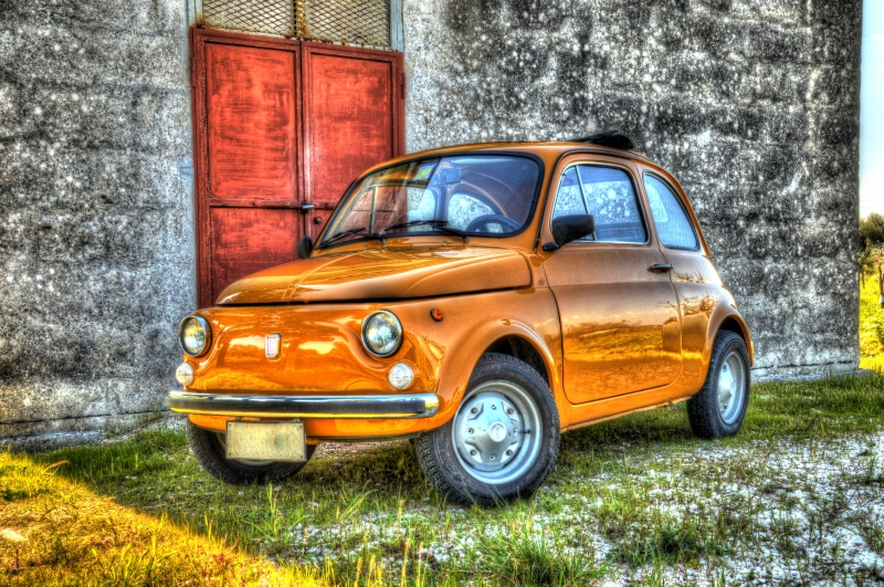 Wall Art Canvas Print And Poster Of Fiat 500