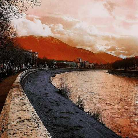 Twilight in Trento city's