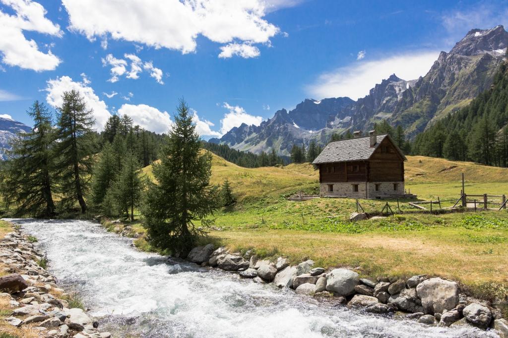 Stampe artistiche quadri e poster con acqua alberi for Piani di casa di montagna con cantina