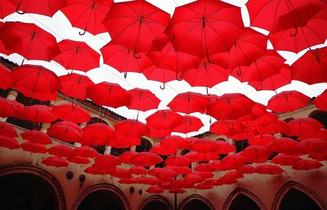 it's raining red umbrellas
