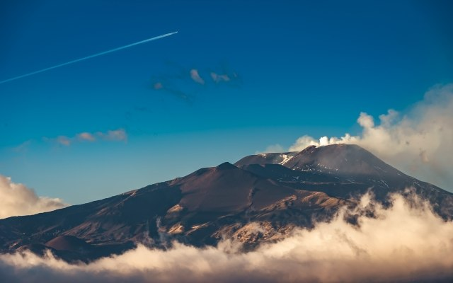 Etna Volcano and clouds