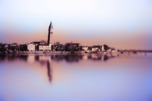 Tableau moderne et impression - Burano, all'alba , tra foschia e colori