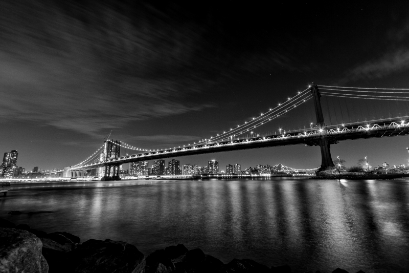 Stampe artistiche quadri e poster con bridge lights manhattan