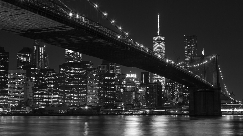 Quadro moderno, poster e stampa artistica con architettura, bianco e nero, black and white, brooklyn bridge, città, hotel, new york, night, skyline, travel, ufficio