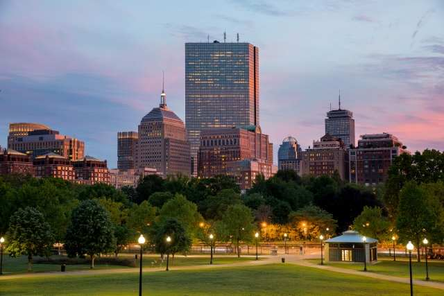 La Back Bay di Boston al tramonto