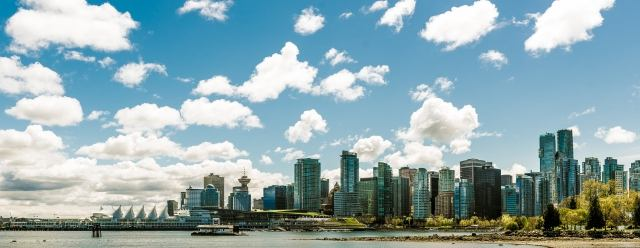 The vancouver skyline seen from Stanley Park
