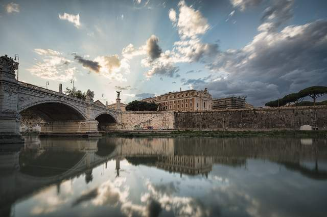 Clouds reflected in the Tiber, Rome