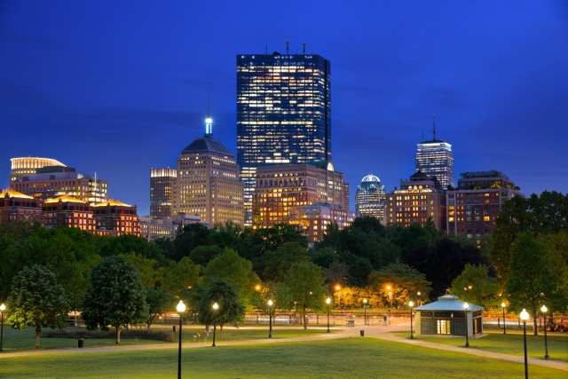Quadro design e stampa artistica online - La Back Bay di Boston all'ora blu