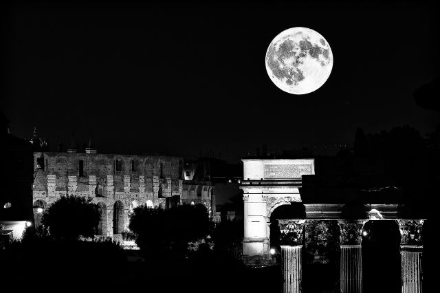 Modern print - Moon and Forum Romanum, Rome