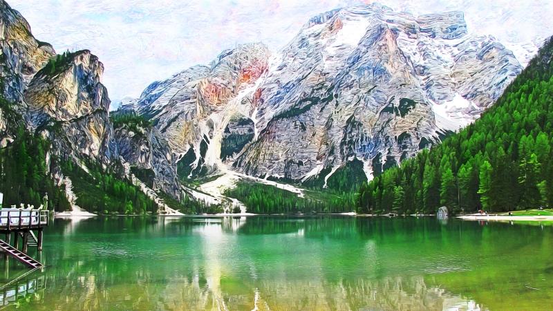 Stampe artistiche quadri e poster con alpi italiane for Lago disegno