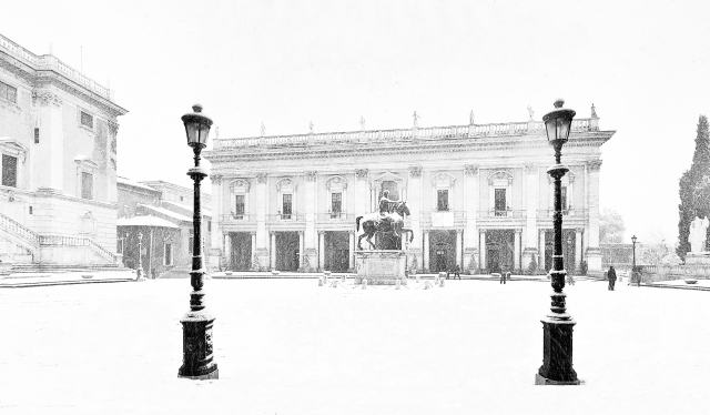 Snow in Capitoline Hill, Rome