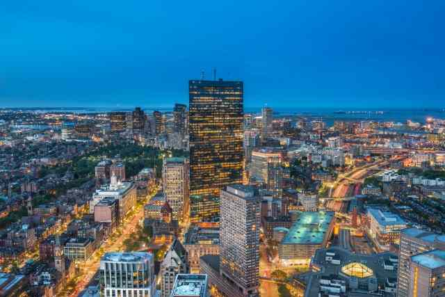 Quadro design e stampa artistica online - Lo skyline di Boston all'ora blu