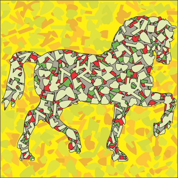Quadro moderno, poster e stampa artistica con abstract, animal, arte, arte digitale, cavallo, giallo, horses, modern, stilizzato, yellow
