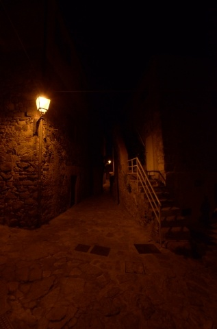 In the castle during the night