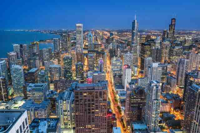 Quadro design e stampa artistica online - Lo skyline di Chicago all'ora blu