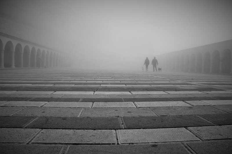 Quadro moderno, poster e stampa artistica con assisi, fog, people, sadness, walking
