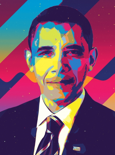 Quadro moderno, poster e stampa artistica con barack obama, design, illustration, illustrazione, man, people, personaggio, politica, ritratto digitale, uomo