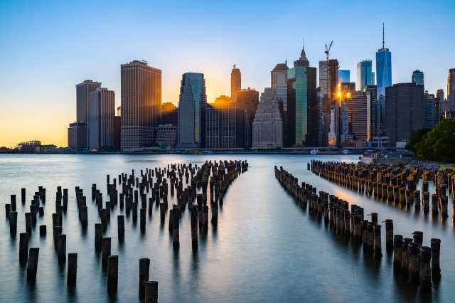 Manhattan al tramonto vista da Brooklyn Park - New York