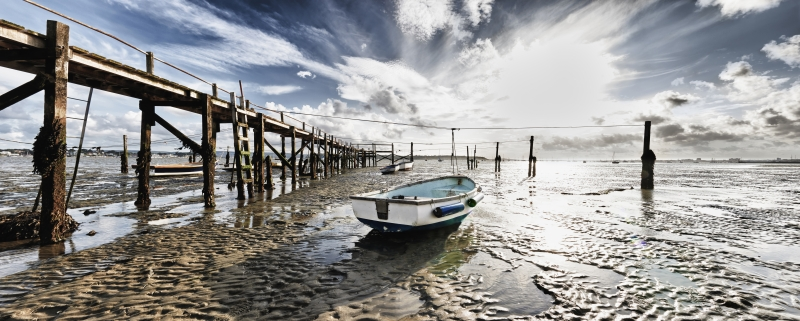 Wall art, poster and art print with bay, boats, low tide, marina, mooring, sand, sea, seascape, seaside, water