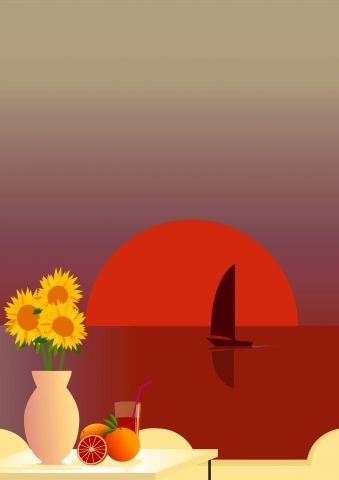 Tableau moderne et impression - Red Sunset in Sicily