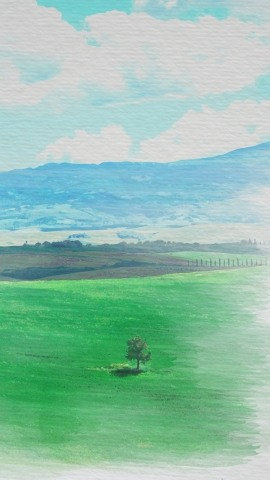 Watercolor painting of the Chianti hills