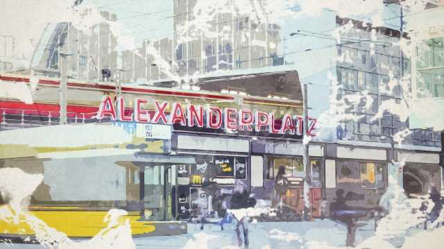 Quadro moderno e stampa - Watercolor painting of Alexanderplatz square in Berlin