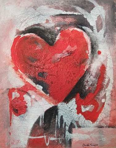 Tableau moderne et impression - Cuore astratto rosso