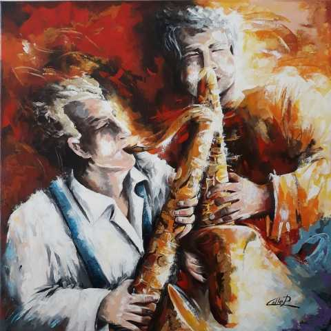 Tableau moderne et impression - Jazz music Duo dipinto del M° pasquale COLLE