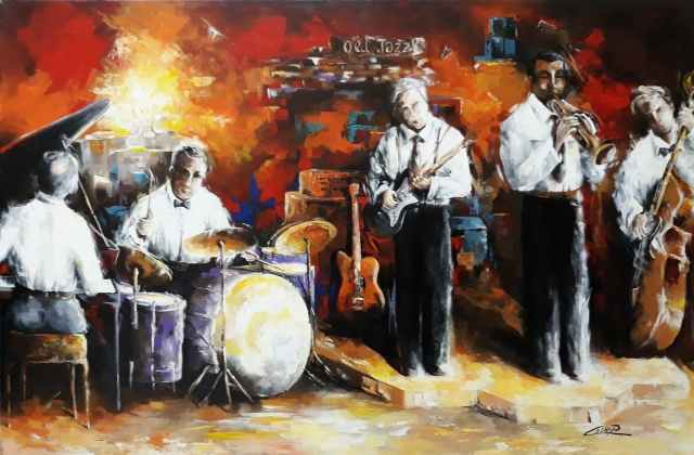 Tableau moderne et impression - Old jazz music  dipinto del M°Pasquale COLLE