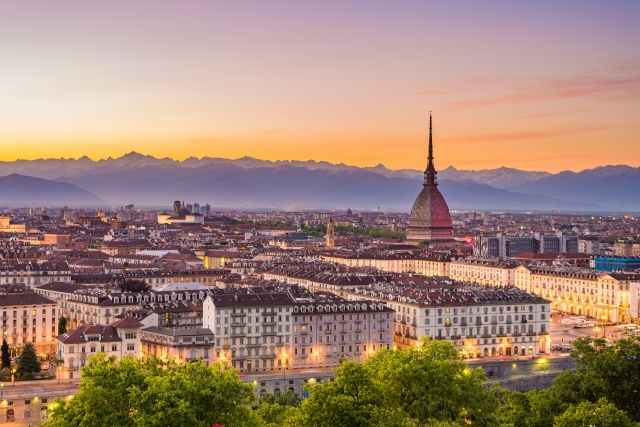 Tableau moderne et impression - Torino - Italia (Turin, Italy): city panorama at sunset