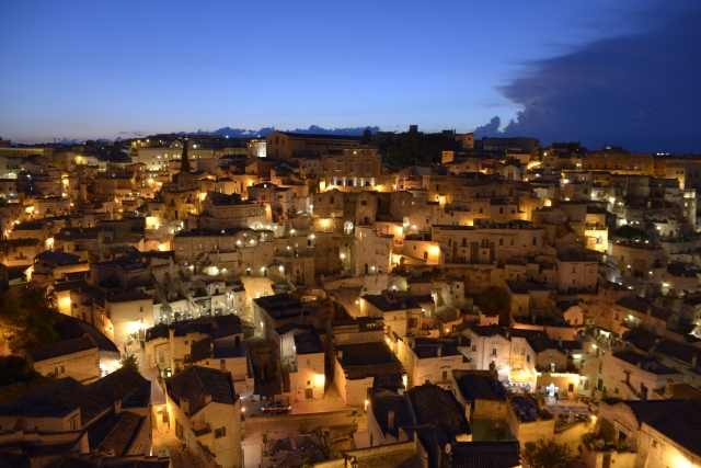 Night panorama of Matera the city of the Sassi