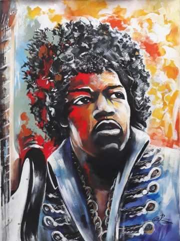 Jimi hendrix  the great blues man dipinto del M°Pasquale Colle